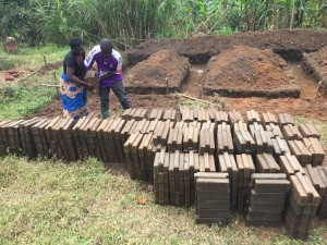 Stacking the bricks alongside the foundation to build the house.